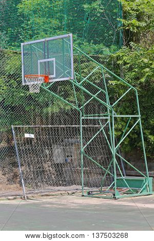 Basketball Hoop Backboard at Outdoor Sports Court