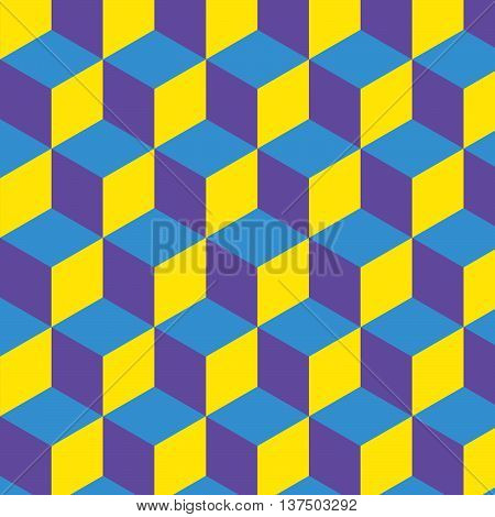 Purple, blue and yellow psychedelic box pattern background