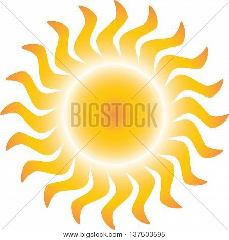 Yellow and orange gradient sun icon with glowing center
