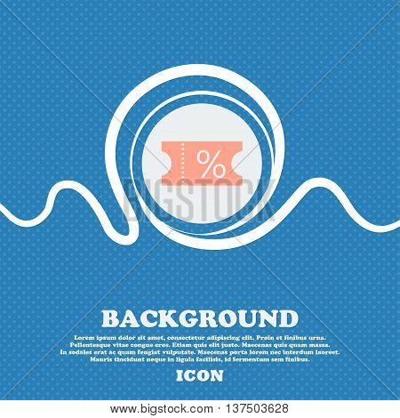 Ticket Discount Icon Sign. Blue And White Abstract Background Flecked With Space For Text And Your D