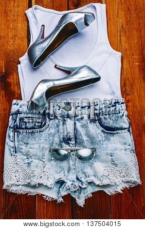 Women's accessories. silver Shoes & denim Clothing