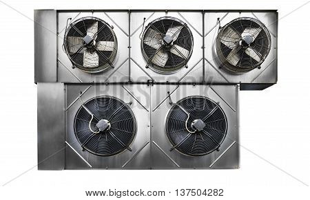 Five cooling industrial air conditioning units. Isolated on white background.