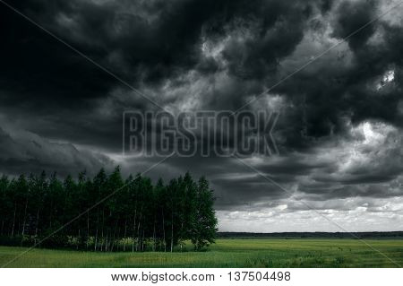 Dramatic Thunder Storm Clouds At Dark Sky. Nature Landscape