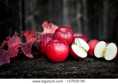 Fresh Red, Organic Apples From Autumn Harvest. Agriculture Harve