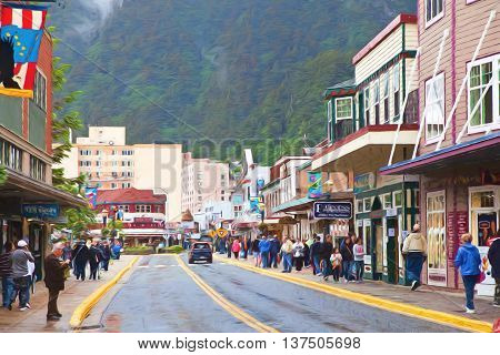Illustrative image of tourist shopping in downtown Juneau.