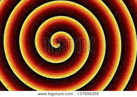 Illustration of an inferno colored mosaic spiral