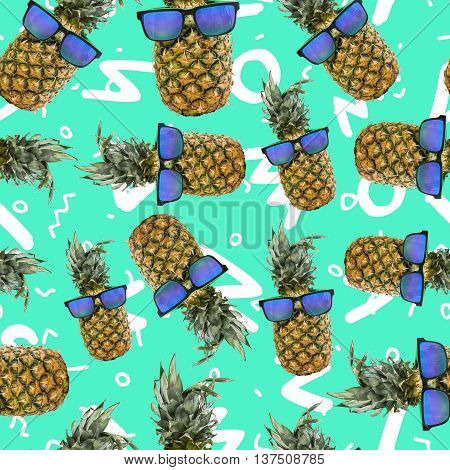 Summer seamless pattern with fun pineapple fruit in hipster sunglasses over vibrant color doodle background.