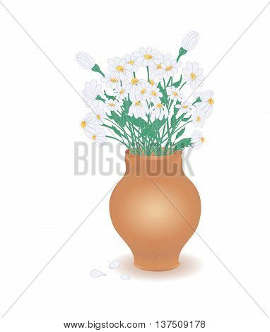 Rustic Terracota Pot with Graceful Chamomiles Bouquet. Vector EPS10