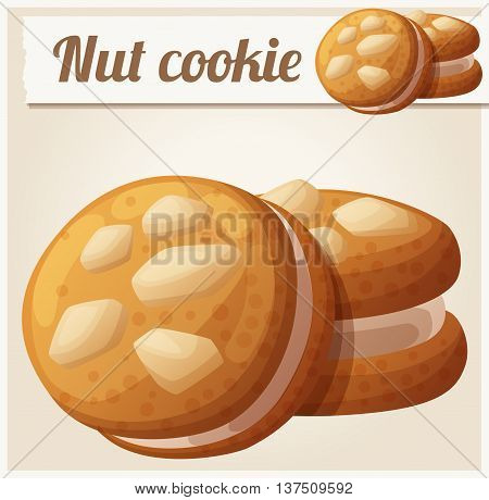 Nut cookie. Detailed vector icon. Series of food and drink and ingredients for cooking.
