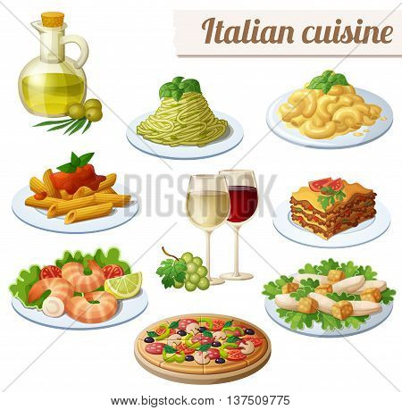 Set of food icons isolated on white background. Italian cuisine. Spaghetti with pesto, lasagna, penne pasta with tomato sauce, pizza, olive oil, macaroni and cheese, red and white wine in glasses, prawns, caesar salad