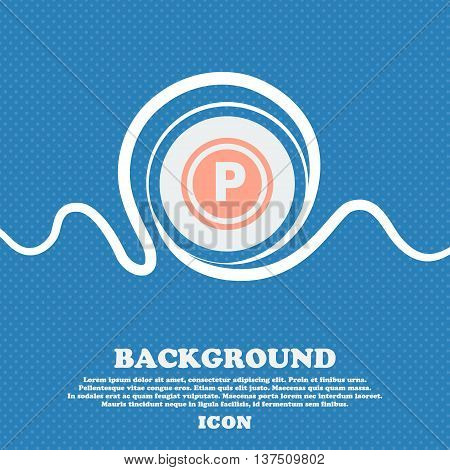 Car Parking  Sign Icon. Blue And White Abstract Background Flecked With Space For Text And Your Desi