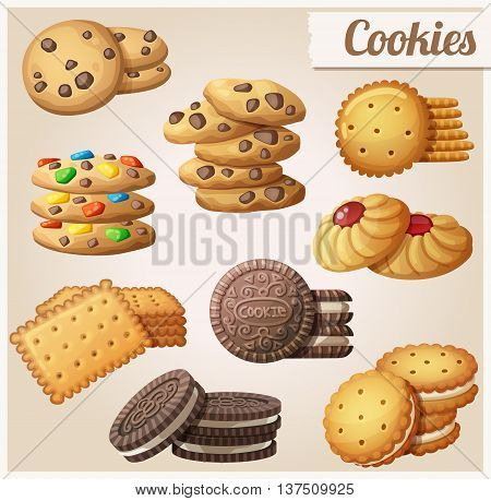 Cookies. Set of cartoon vector food icons.