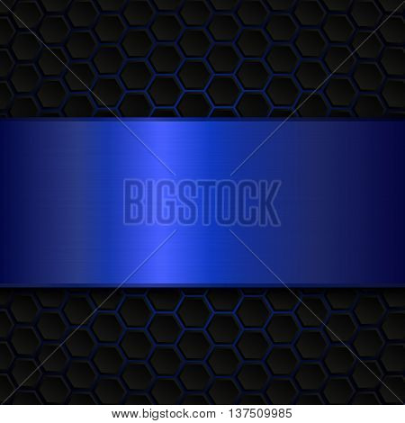 Geometric pattern of hexagons with blue metallic banner, Abstract metal template background