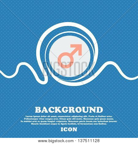 Male Sex  Sign Icon. Blue And White Abstract Background Flecked With Space For Text And Your Design.