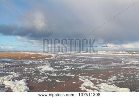 North sea coast after storm Zandvoort Netherlands