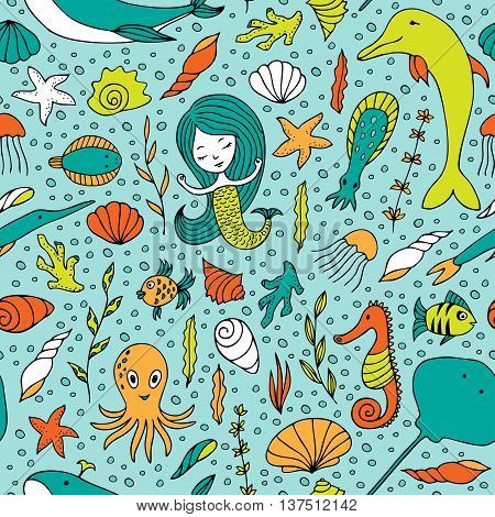 Seamless pattern marine life. Fish, algae, sea animals, seashell, mermaid and bubbles drawn by hand in cartoon style on turquoise background.