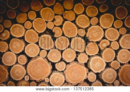 Stack of new wood logs. Wooden background.