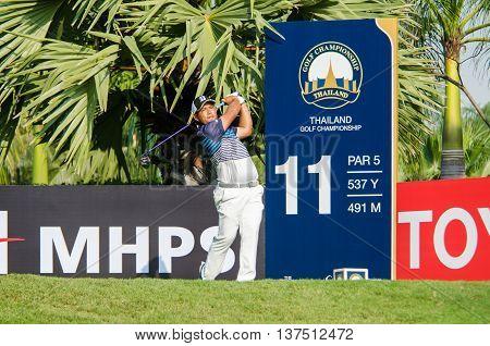 CHONBURI - DECEMBER 10 : Chinnarat Phadungsil of Thailand player in Thailand Golf Championship 2015 at Amata Spring Country Club on December 10 2015 in Chonburi Thailand.