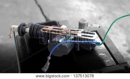 Select focus Electric current Car lock technology equipment around and background are blur and gray color tone by computer graphic.