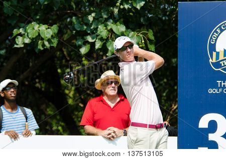 CHONBURI - DECEMBER 10 : Nicolas Colsaerts of Belgium player in Thailand Golf Championship 2015 (Tournament on the Asian Tour) at Amata Spring Country Club on December 10 2015 in Chonburi Thailand.