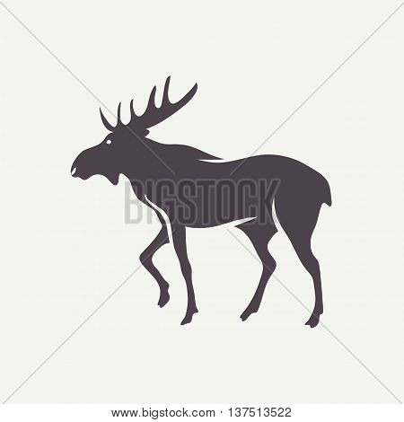 Moose symbol. Vector silhouette of an animal