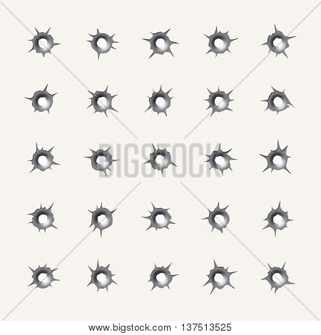 Bullet holes. Set of various weapons impact hollows, gunshot marks in vector