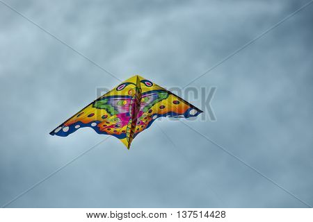 Kite flying on blue sky in a summer day