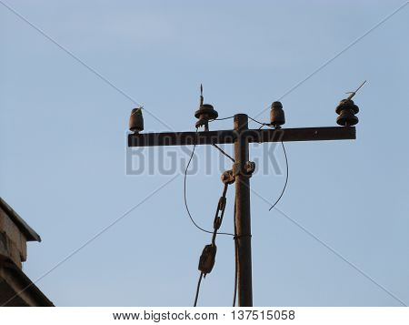 electricity pole on the roof of the house