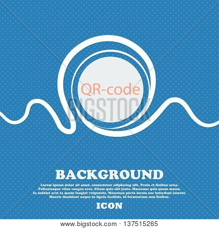 Qr-code Sign Icon. Scan Code Symbol. Blue And White Abstract Background Flecked With Space For Text
