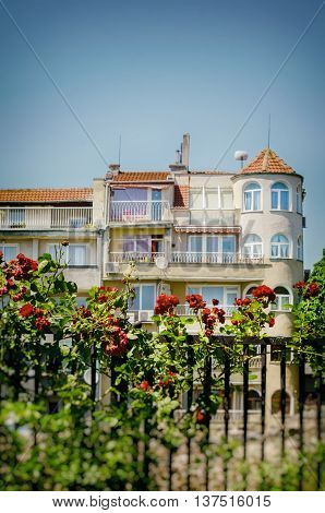 View at Old Varna Town With Roses in Summertime Bulgaria 2015