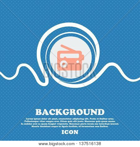 Retro Radio  Sign Icon. Blue And White Abstract Background Flecked With Space For Text And Your Desi