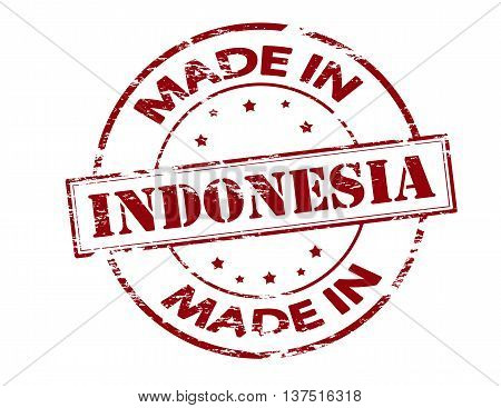 Rubber stamp with text made in Indonesia inside vector illustration