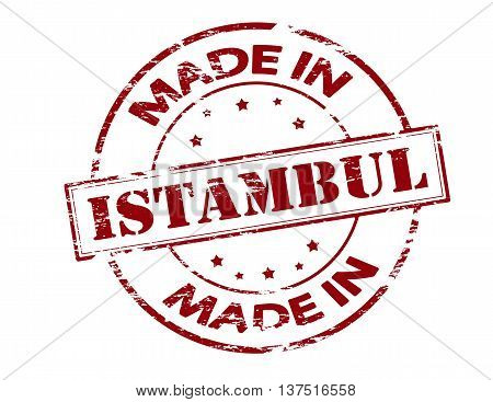 Rubber stamp with text made in Istambul inside vector illustration