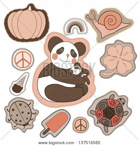happy embroidery patches collection. vector set illustration with panda, clover, snail, turtle, pacific pumpkin ice cream rainbow ladybug