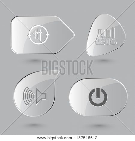 4 images: wind turbine, chemical test tubes, loudspeaker, switch element. Tehnology set. Glass buttons on gray background. Vector icons.