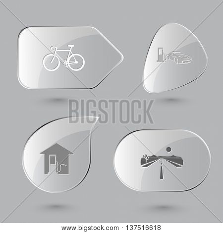 4 images: bicycle, car fueling, road. Transport set. Glass buttons on gray background. Vector icons.