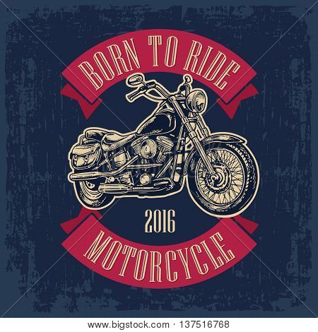 Motorcycle. Side view. Classic chopper bike in engraving style. Vector illustration isolated on white background. For web poster t-shirt tattoo biker club. Isolated on dark blue vintage background