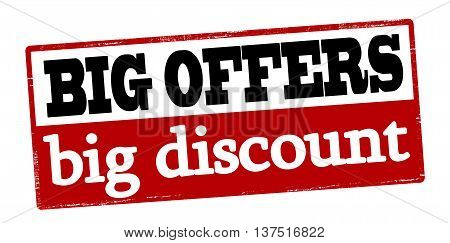 Rubber stamp with text big offers big discount inside vector illustration
