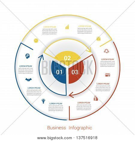 Template infographic three position steps parts with text area vector illustration colourful in the form of circle parts. Business pie chart diagram data.