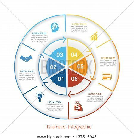 Template infographic six position steps parts with text area vector illustration colourful in the form of circle parts. Business pie chart diagram data.