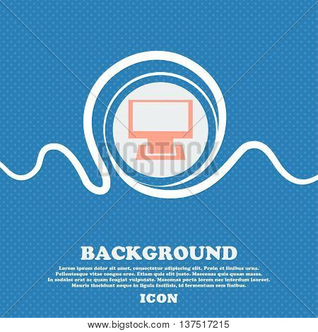 Computer Widescreen Monitor Sign Icon. Blue And White Abstract Background Flecked With Space For Tex