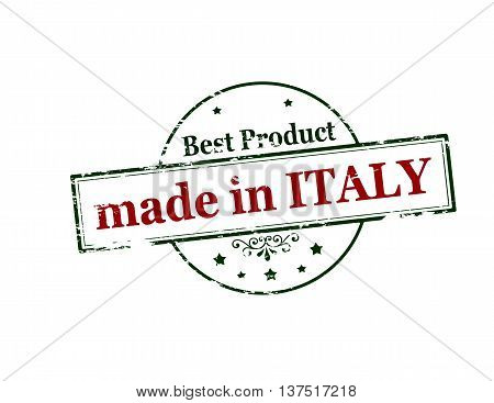 Rubber stamp with text made in Italy inside vector illustration