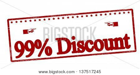 Rubber stamp with text ninety nine percent discount inside vector illustration