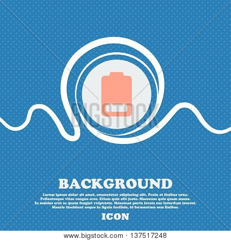 Battery Low Level, Electricity  Sign Icon. Blue And White Abstract Background Flecked With Space For