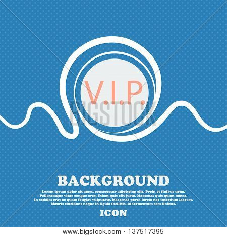 Vip Sign Icon. Membership Symbol. Very Important Person. Blue And White Abstract Background Flecked