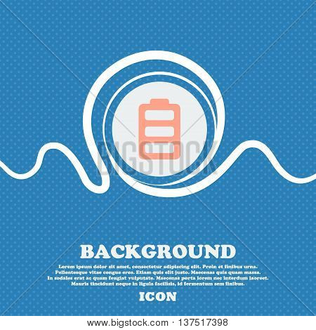 Battery Fully Charged  Sign Icon. Blue And White Abstract Background Flecked With Space For Text And