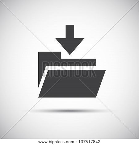 Simple folder with download arrow vector icon web button