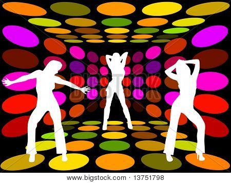 Three women dancing in a disco lounge
