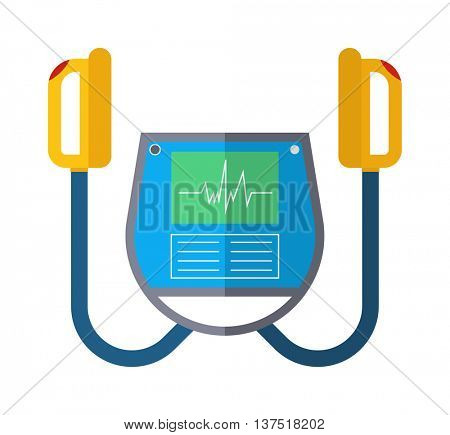 Defibrillator unit isolated medical vector icon.