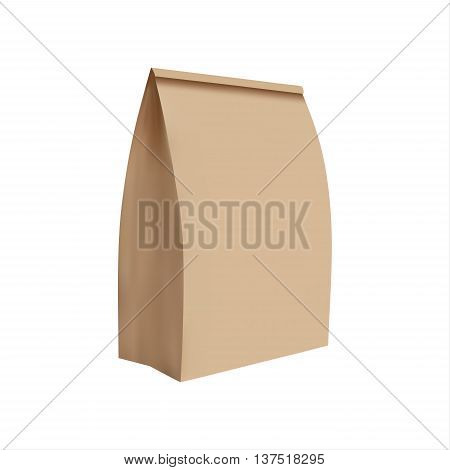 Simple illustration of paper bag realistic illustration vector image isolated on white background